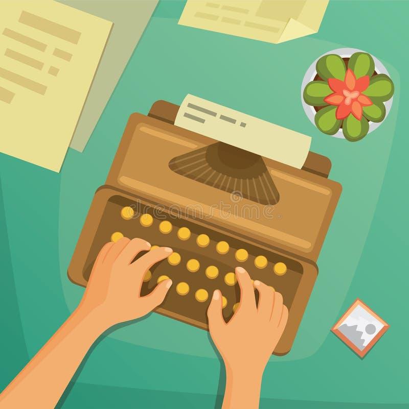 Vista superiore di progettazione piana su scrittura di progettazione di massima dello scrittorio royalty illustrazione gratis