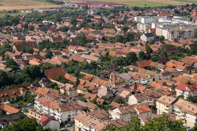 Vista superiore di Rasnov in Romania immagine stock libera da diritti