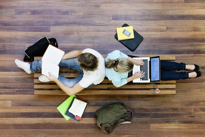 Vista superiore di studio degli studenti universitari fotografia stock libera da diritti