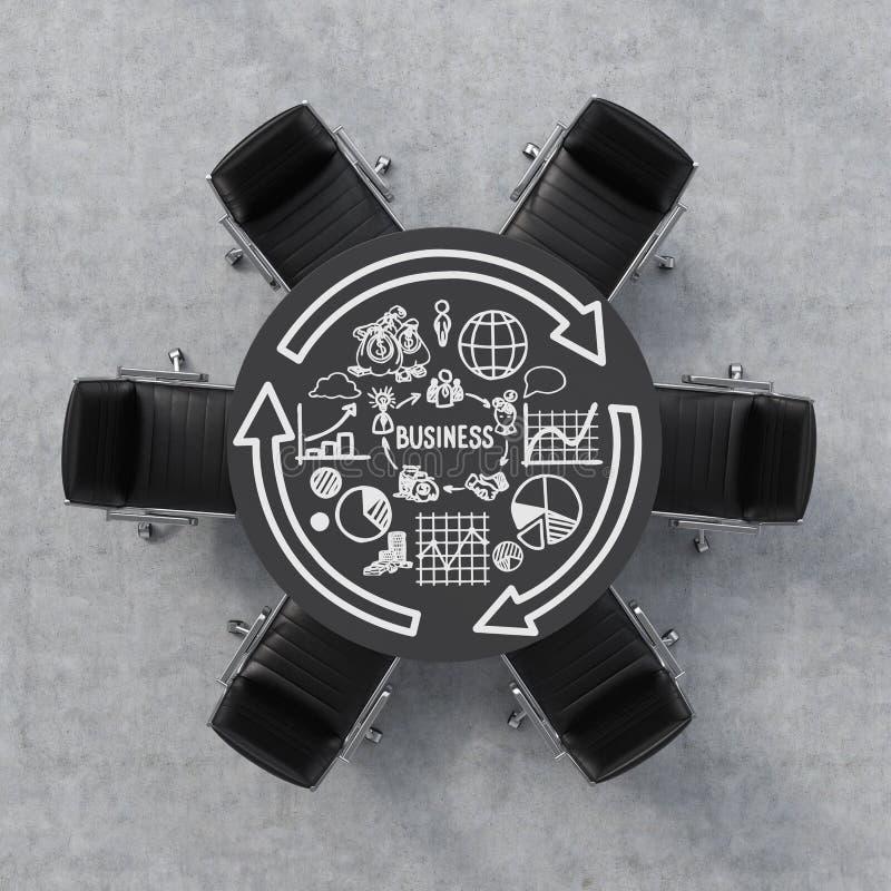 Vista superiore di un auditorium Una tavola rotonda nera, sei sedie Il diagramma di flusso di affari è attinto la superficie dell royalty illustrazione gratis
