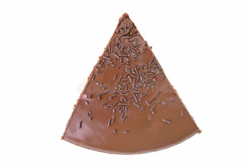 Vista superiore di una fetta di torta del fondente di cioccolato immagini stock