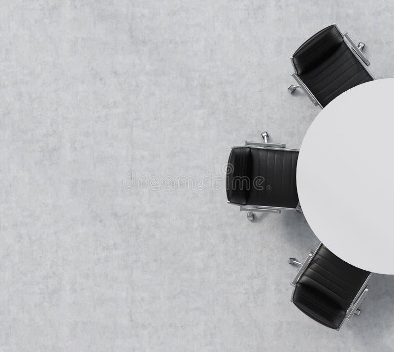 Vista superiore di una metà dell'auditorium Una tavola rotonda bianca, tre sedie di cuoio nere Interno dell'ufficio illustrazione vettoriale