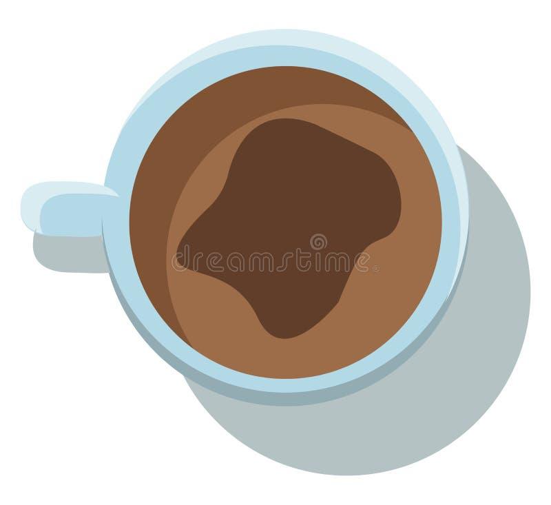 Vista superiore di una tazza bianca riempita di disegno o illustrazione a colori vettoriale di una bevanda a caffè caldo illustrazione vettoriale