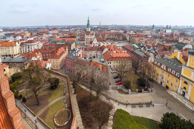 Vista superiore di vecchia città a Poznan immagine stock libera da diritti