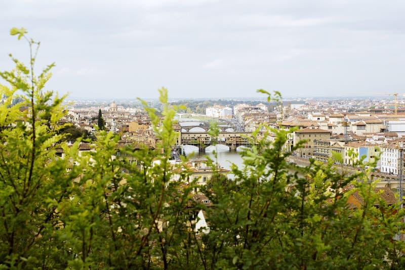 Vista superiore a Firenze attraverso i cespugli verdi da Michelangelo Square L'Italia fotografia stock