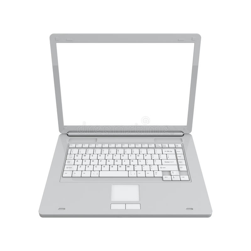 Vista superiore isolata computer portatile fotografie stock