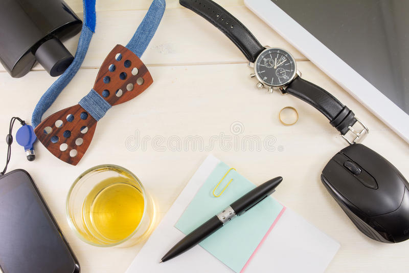 Vista superiore maschio degli accessori di affari e di modo fotografia stock