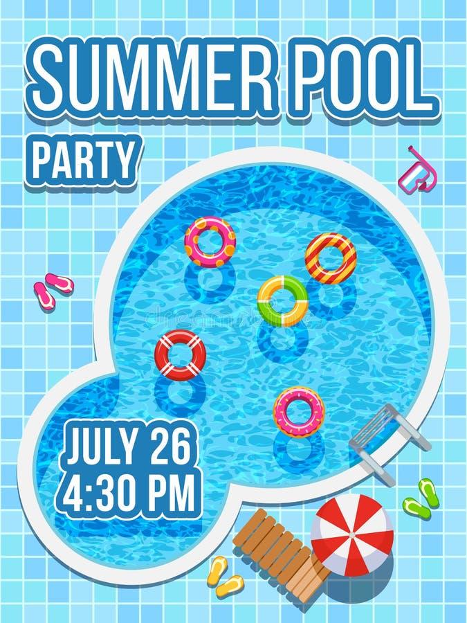 Vista superiore nessuno piscina con acqua blu Progettazione di vettore per l'invito del partito illustrazione vettoriale