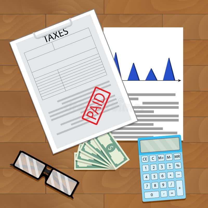 Vista superiore pagata di imposta illustrazione vettoriale
