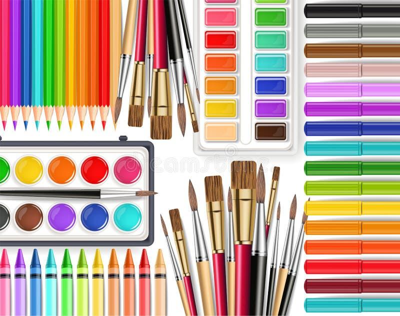 Vista superiore realistica di vettore degli strumenti di disegno Spazzola, tavolozza dell'acquerello, matite, pastelli Illustrazi royalty illustrazione gratis