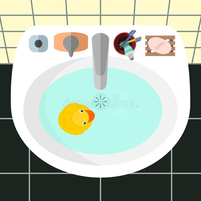 Vista superiore su un lavandino in un bagno con l'anatra di gomma gialla illustrazione di stock