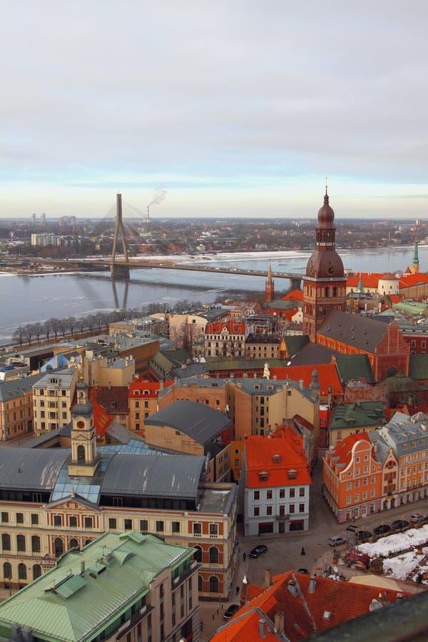 Vista superiore sulla città Riga, Latvia fotografie stock