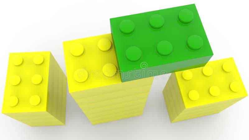 Vista superiore sulle torri dei mattoni del giocattolo nei colori verdi e gialli royalty illustrazione gratis