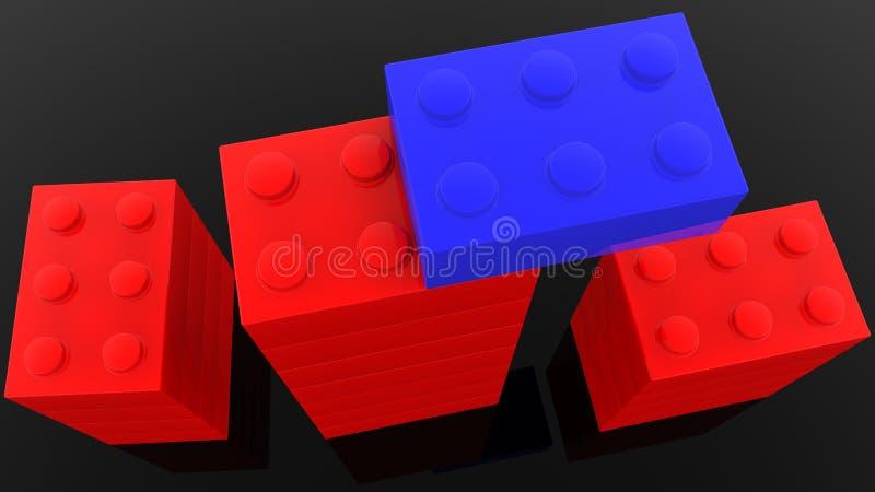 Vista superiore sulle torri dei mattoni del giocattolo sul nero illustrazione vettoriale