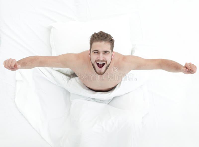 Vista superiore Un uomo molto felice immagine stock libera da diritti
