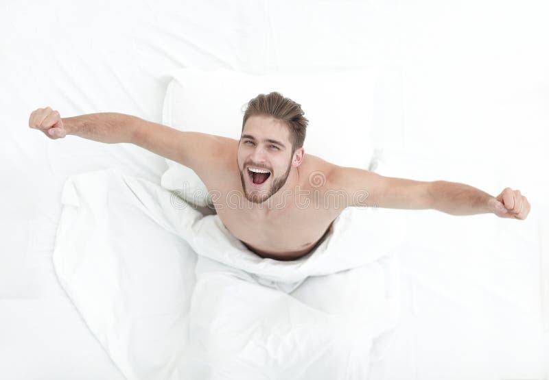Vista superiore Un uomo molto felice immagini stock libere da diritti