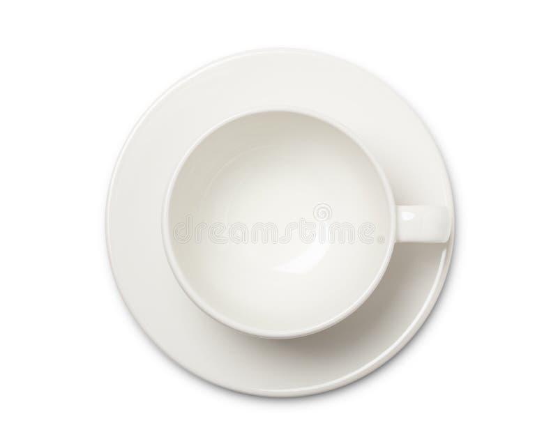 Vista superiore vuota della tazza o del tazza da the di caffè macchiato su fondo bianco Con il percorso di ritaglio fotografia stock libera da diritti