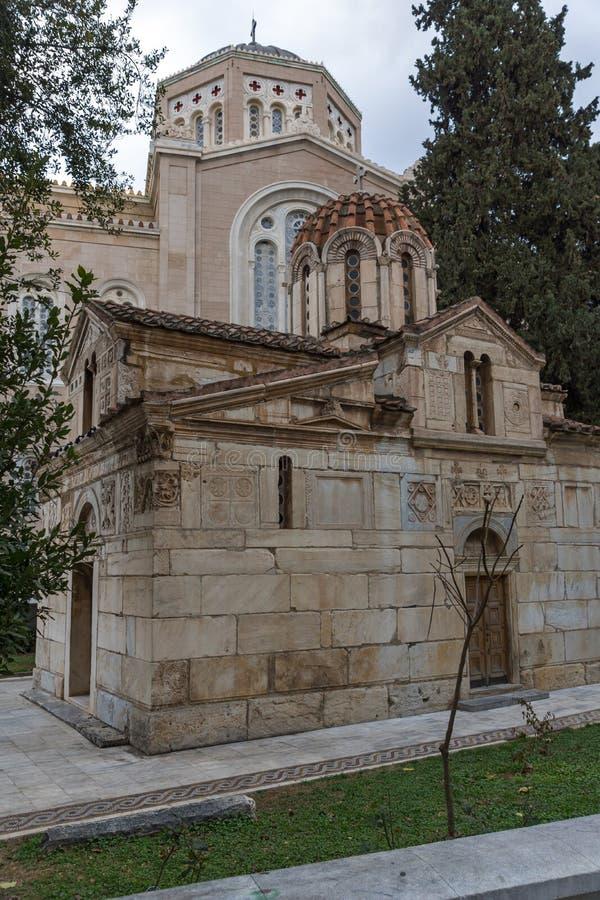 Vista surpreendente da igreja de Agios Eleftherios em Atenas, Grécia imagem de stock royalty free