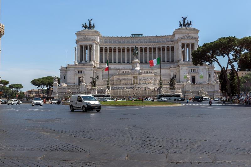 Vista surpreendente do altar do della Patria de Altare da pátria, conhecido como o monumento nacional a Victo fotos de stock royalty free