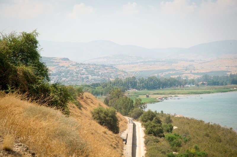 Vista surpreendente do mar de Galilee - Kinneret imagens de stock