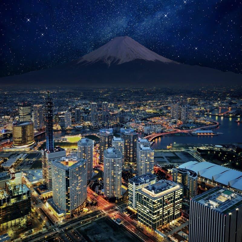 Vista surreal da cidade de Yokohama fotografia de stock