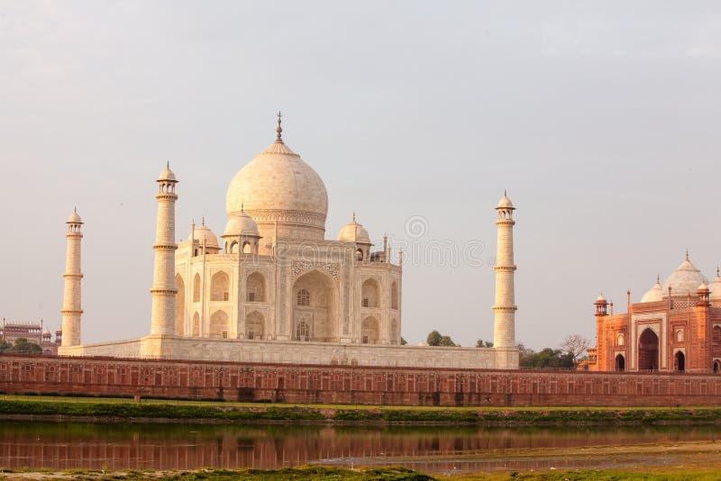 Vista a Taj Mahal através do rio de Yamuna, Agra, Índia imagens de stock