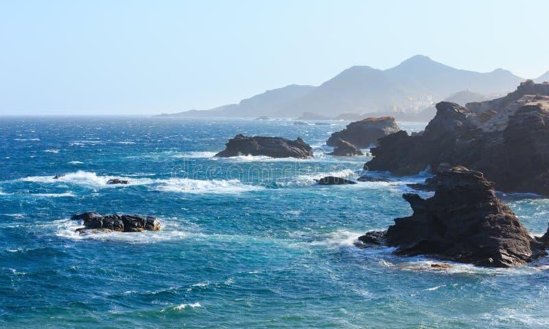 Vista tempestosa dell'Oceano Atlantico, Spagna fotografia stock libera da diritti