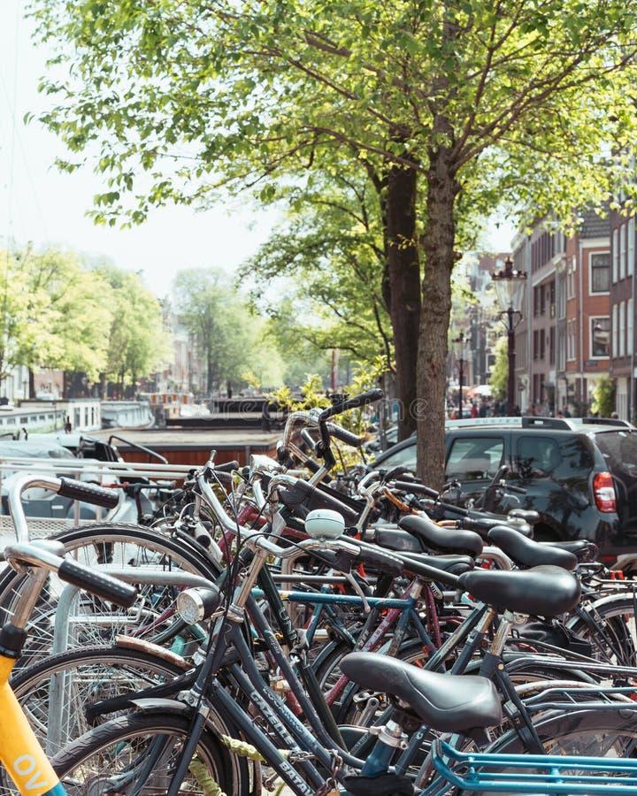 Vista tipica del canale di Amsterdam con le case galleggianti fotografia stock libera da diritti