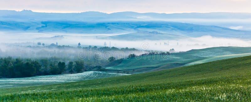 Vista toscana della nebbia di mattina immagine stock