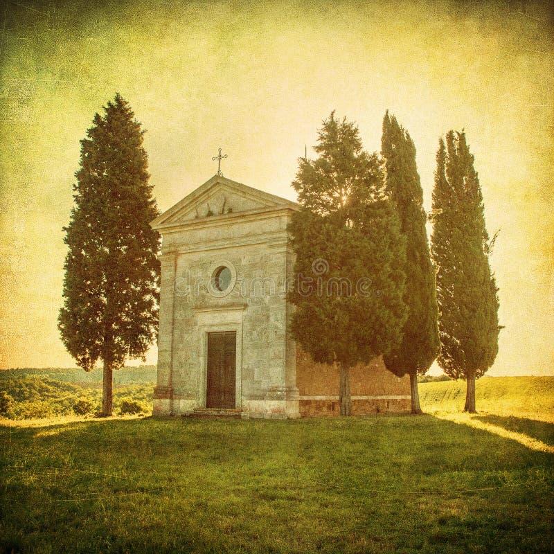 Vista toscana scenica, della Madonna di Vitaleta di Cappella fotografie stock libere da diritti