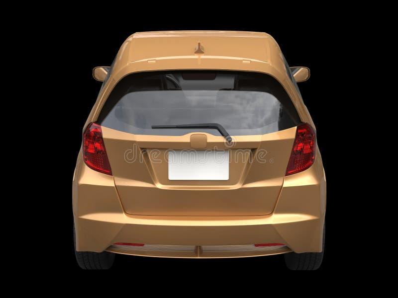 Vista traseira automobilístico compacta moderna metálica dourada ilustração royalty free