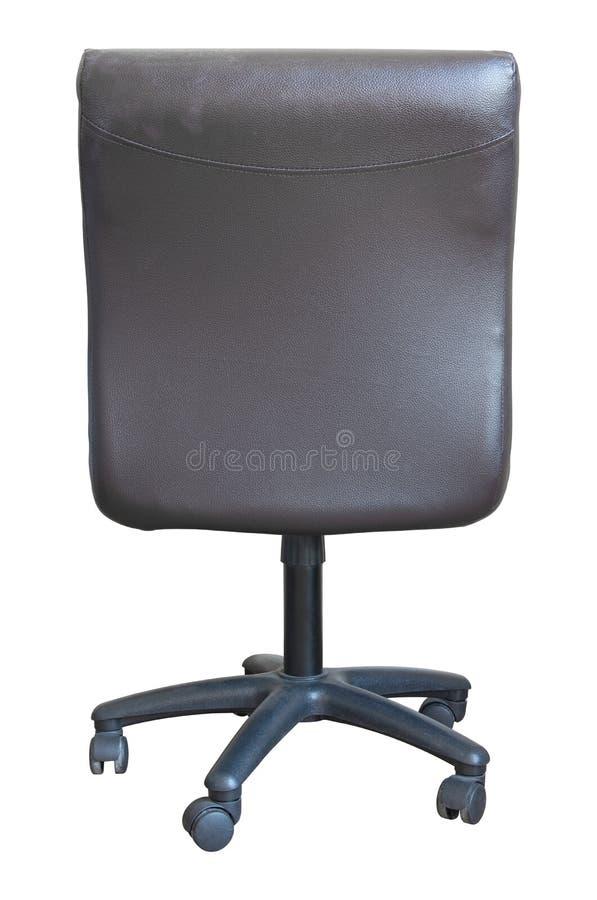 Vista traseira da cadeira de couro do escritório isolada no branco fotografia de stock royalty free