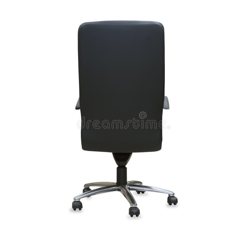 Vista traseira da cadeira moderna do escritório do couro preto imagem de stock