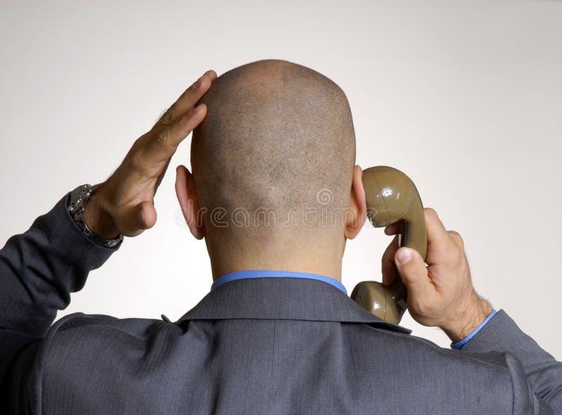 Vista traseira de uma cabeça calva foto de stock