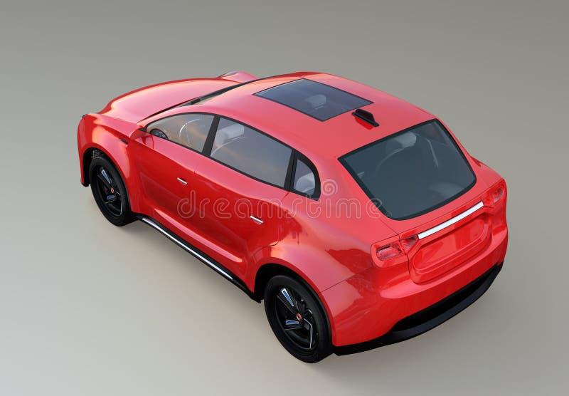 Vista traseira do carro bonde vermelho do conceito de SUV isolado no fundo cinzento ilustração stock
