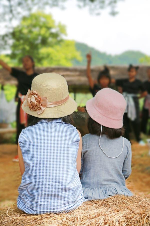 Vista traseira do chapéu vestindo da menina de duas crianças que olha a mostra da cultura no parque natural foto de stock royalty free