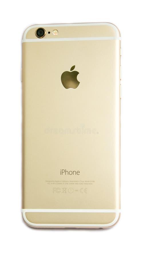 Vista traseira do iPhone novo 6 de Apple isolado imagem de stock