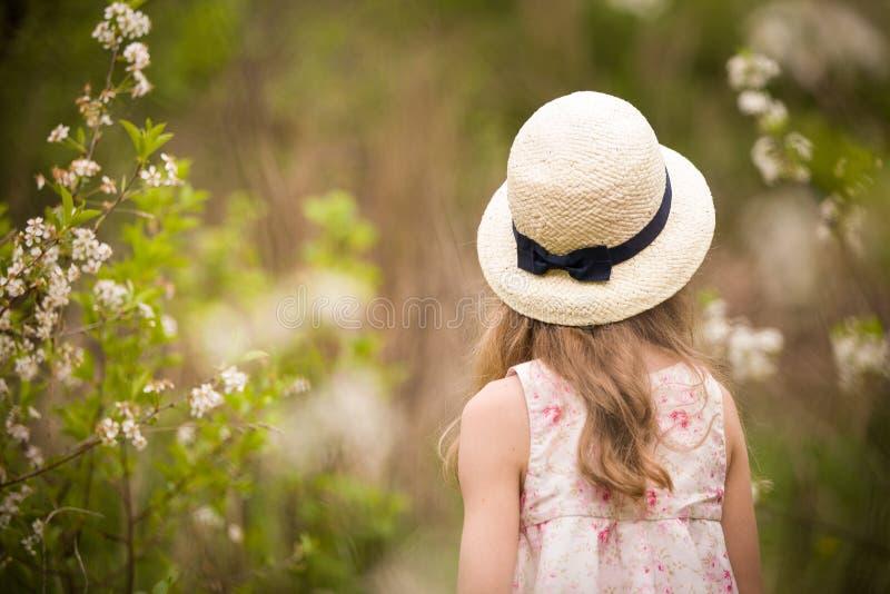 Vista traseira em uma menina com cabelo longo em um chapéu de palha Criança que anda no jardim da flor de cerejeira fotografia de stock