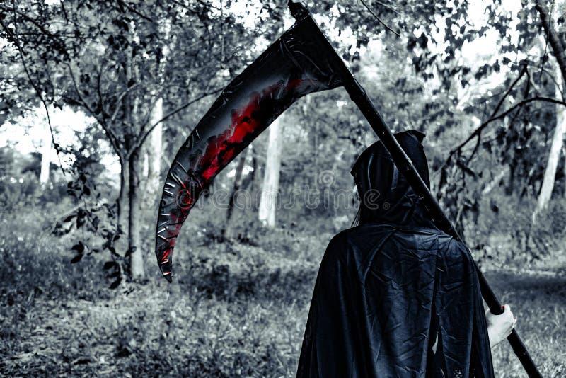 Vista trasera de la bruja del demonio con el segador y de la sangre en el misterio FO fotos de archivo