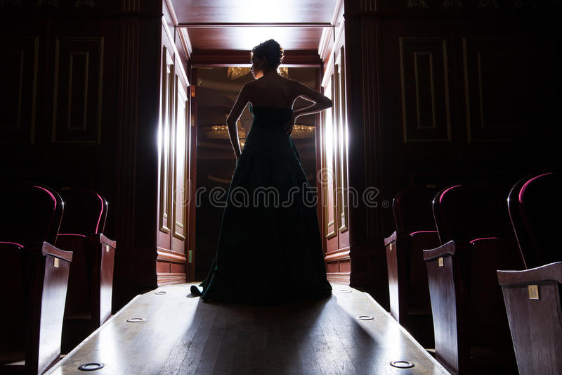Vista trasera de la silueta de la mujer elegante en puertas foto de archivo libre de regalías