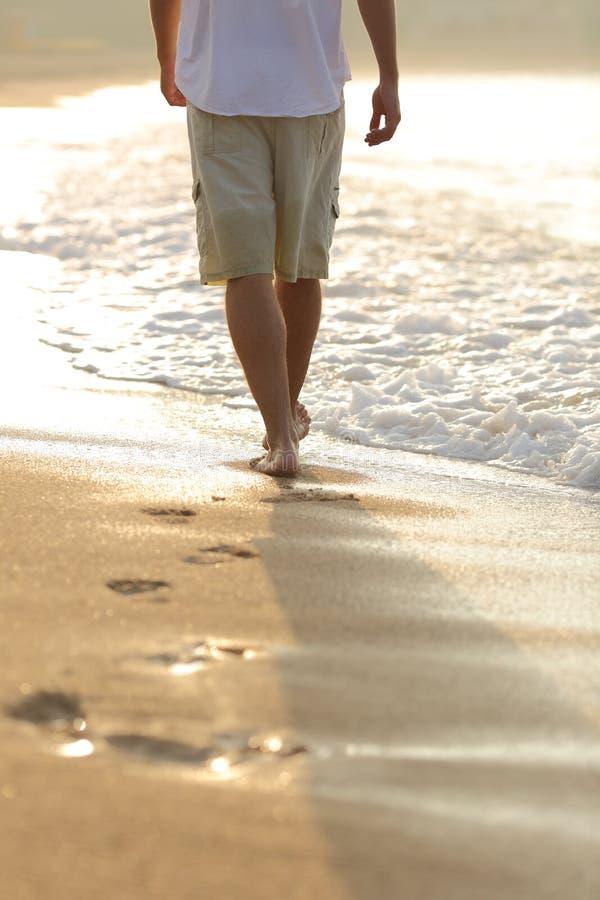 Vista trasera de las piernas de un hombre que caminan en la playa imágenes de archivo libres de regalías