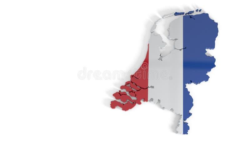 Vista tridimensional de los Países Bajos, representación 3d ilustración del vector