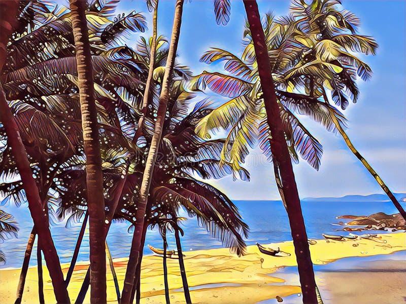 Vista tropicale del mare e della spiaggia tramite le palme e le foglie royalty illustrazione gratis