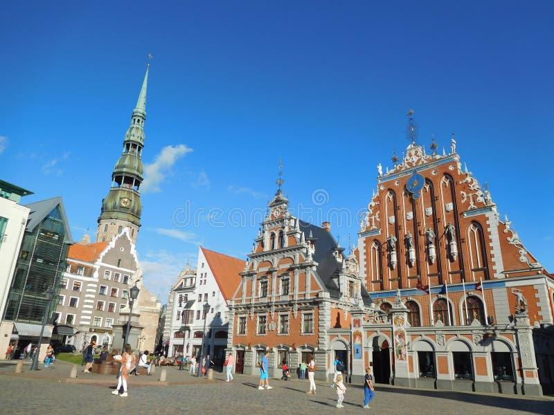 Vista turística de Riga hermosa, Letonia foto de archivo libre de regalías