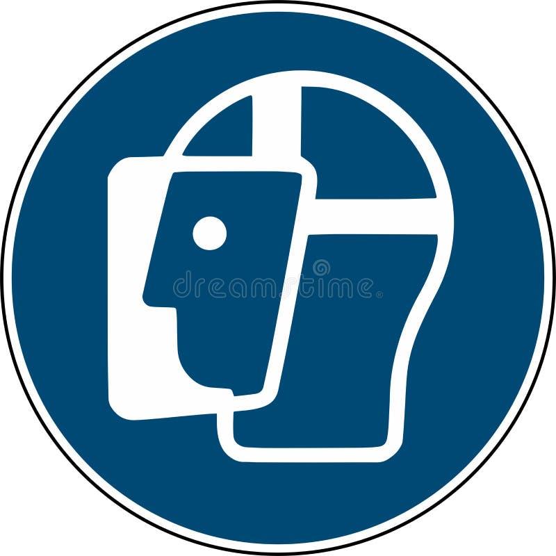 Vista uma máscara do protetor de cara - iso imperativo 7010 do sinal ilustração royalty free