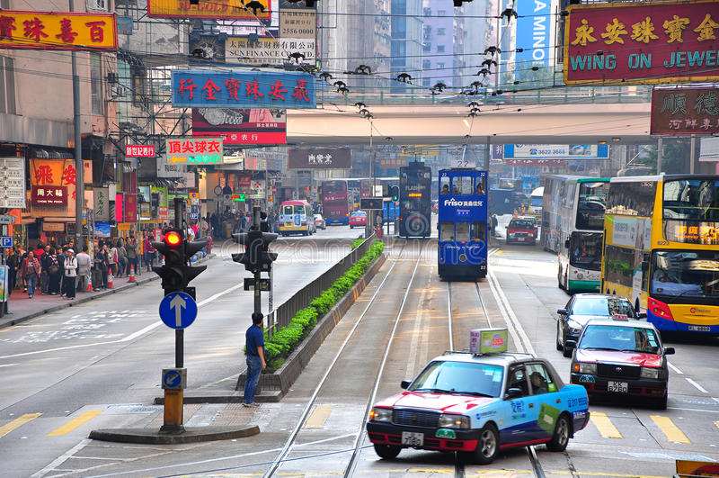 Vista urbana della baia della strada soprelevata, Hong Kong fotografia stock libera da diritti