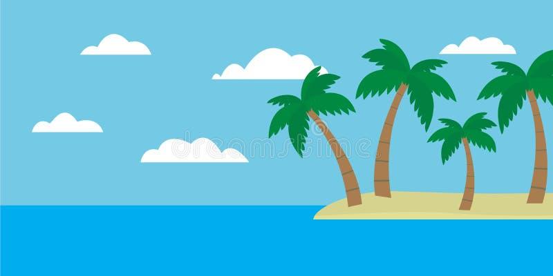 Vista variopinta del fumetto dell'isola tropicale con la spiaggia e le palme dentro