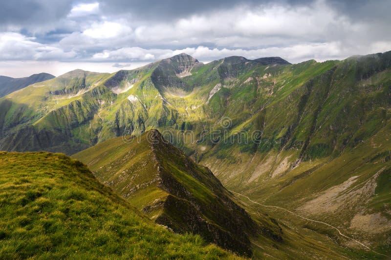 Vista verde dei picchi di montagna immagine stock