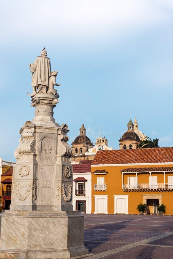 Vista vertical da plaza de Aduana em Cartagena, Colômbia foto de stock