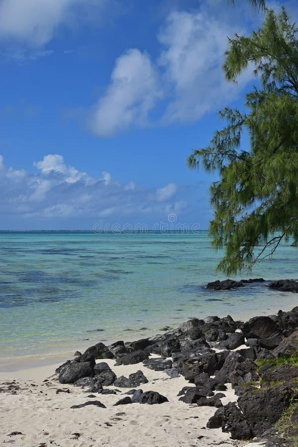 Vista vertical de la playa hermosa con las rocas negras en Ile Cerfs aux. Mauricio imagen de archivo